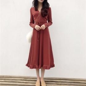 2020年春秋新款裙新款女韩版显瘦V领修身长袖
