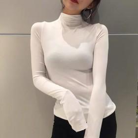 春秋韩版纯色半高领女大码套头薄款修身打底衫百搭长袖