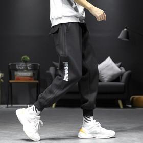 日系宽松男裤子条纹束脚印花小脚加肥加大码休闲运动裤