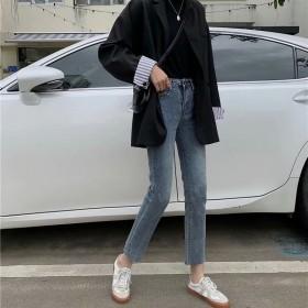 秋冬新款高腰牛仔裤女时尚休闲复古显瘦宽松直筒裤