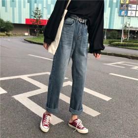 秋季新款韩版复古牛仔裤女学生