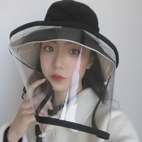 防护帽女韩国防飞沫渔夫帽可拆卸面罩隔离帽防晒遮脸防