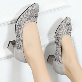 镂空单鞋女2020新款女鞋粗跟百搭网纱一脚蹬皮鞋