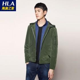 海澜之家品牌飞行员夹克男青年连帽运动休闲外套49A