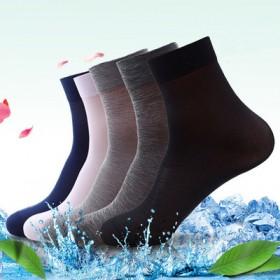 精品春季10双男士丝光棉袜子纯色中筒商务休闲运动防