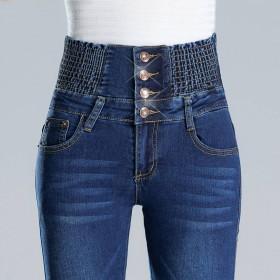 牛仔裤女松紧高腰收腹修身弹力大码排扣小脚铅笔女裤