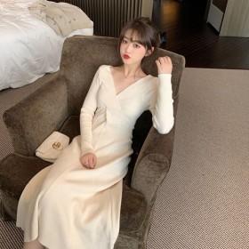 2020春秋新款针织连衣裙女修身中长款百搭显瘦V领
