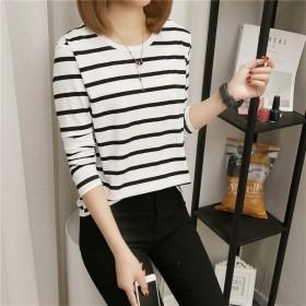 洋气学生超火长袖外穿时尚条纹t恤女新款宽松韩版网红