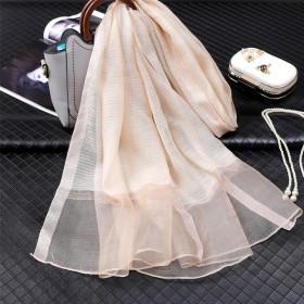 夏季薄款真丝混纺围巾软妹百搭潮流丝绸绣花新品纱巾