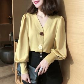 2020春秋新款衬衫女长袖韩版宽松设计感复古港味