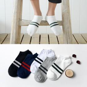 男士袜子透气全棉船袜双杠短袜浅口隐形棉袜5双