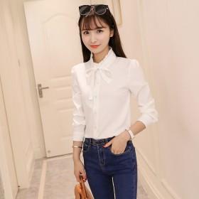 2019春季女装新款百搭韩范白色长袖衬衫女显瘦雪纺