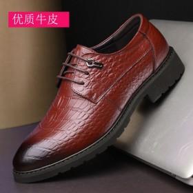 真皮休闲男士皮鞋尖头商务男鞋套脚英伦鳄鱼纹正装皮鞋