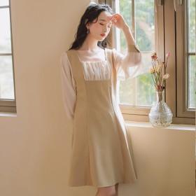 2020年春装新款假两件雪纺连衣裙女长袖显瘦洋气中