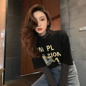 2020春秋新款假两件长袖T恤女学生韩版宽松内搭