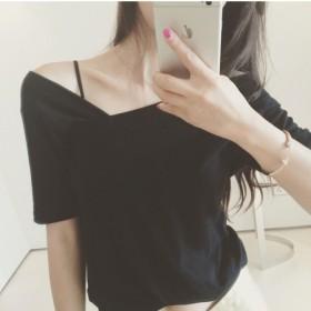 夏韩版显瘦性感个性不规则V字领百搭修身短袖T恤