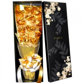 女神节金玫瑰花9朵 24K金箔玫瑰花束结婚创意礼品