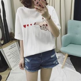 夏季新品韩版宽松绣花卡通发射爱心短袖 女士 t恤潮