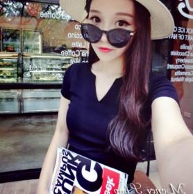 夏季新品韩版百搭纯色拼接V领套头短袖T恤打底衫潮