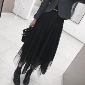 春秋新款不规则网纱半身裙中长款百褶裙长裙百搭高腰