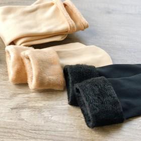 袜子女中筒棉袜秋冬雪地袜加厚加绒肉色产后月子漏露脚