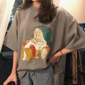 卡通印花短袖T恤女2019春季新款宽松学生韩版百搭