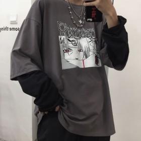 2020春秋新款男装动漫火影假两件长袖T恤男学生