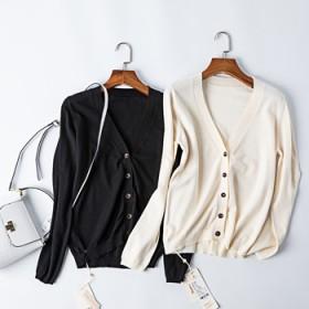 2020春季新款舒适针织开衫时尚韩版百搭纯色外套长