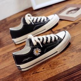 小雏菊低帮帆布鞋女学生韩版1970s复古百搭