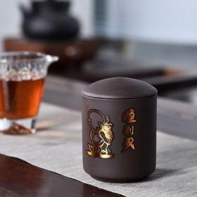 紫砂茶叶罐陶瓷大号直筒存储罐普洱茶罐流苏罐密封罐包