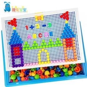 儿童益智蘑菇钉拼接玩具拼插板蘑菇丁盒装拼图儿童益智