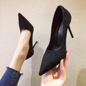 女高跟鞋尖头细跟黑色职业性感春夏秋浅口网红女单鞋