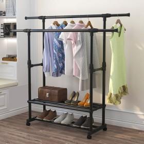 阳台双杆晾衣架落地伸缩式室内晾衣服架子挂晒带置物架