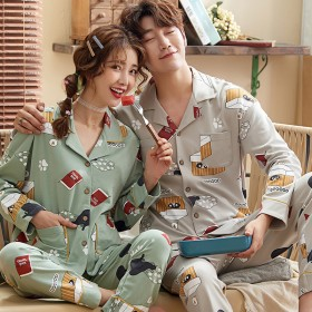 纯棉睡衣情侣长袖卡通韩版可爱大码家居服春秋季套装