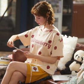 纯棉睡衣女春夏季短袖可爱学生宽松家居服