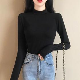 新款韩版显瘦修身白色半高领打底衫女薄款洋