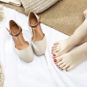 韩版夏季肥胖宽脚显瘦女单鞋粗跟浅口包头仙女风一字带