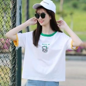 初中生短袖t恤女宽松韩版高中女孩夏装