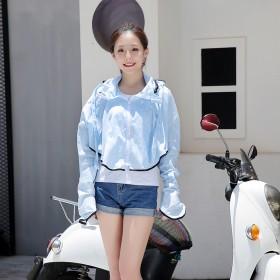 电动车防晒衣女夏季骑车遮阳披肩电动摩托车短款小耳朵