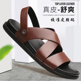 大红鹰凉鞋男夏季潮时尚软底真皮头层牛皮男士拖鞋防滑