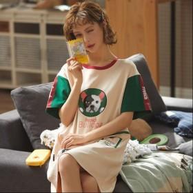 纯棉短袖睡裙女夏季可爱韩版宽松大码睡衣