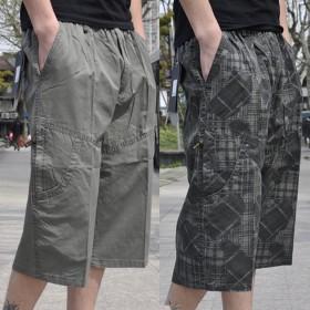 外贸男士短裤七分裤纯棉休闲