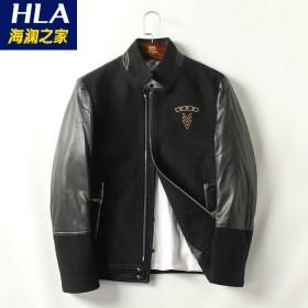 品牌男装春秋款黑色PU皮拼接刺绣标夹克衫男士外套5