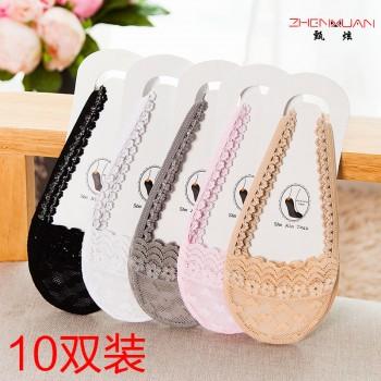 10双装棉底半掌袜女吊带隐形船袜高跟鞋袜子