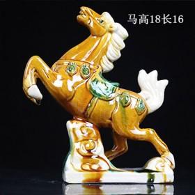 创意中式手工唐三彩陶瓷马摆件