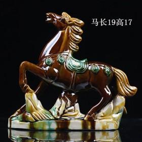 创意手工红釉陶瓷小马摆件