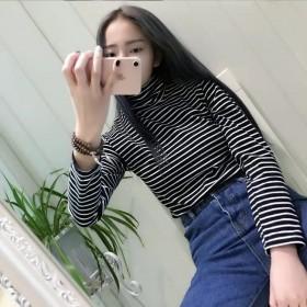 女装韩版宽松百搭高领长袖条纹t恤显瘦打底衫上衣学生