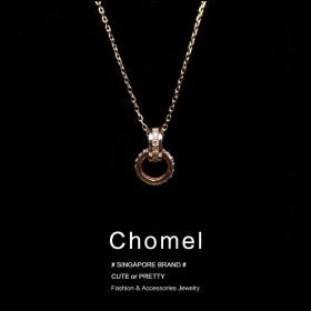 chomel新加坡官网潮流银双环扣锁骨项链闺蜜礼物