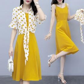 大码两件套连衣裙女装新款洋气夏装显瘦遮肚吊带连衣裙