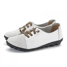妈妈鞋软底舒适春秋款真皮圆头女单鞋中年系带大码老人